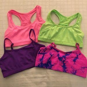 4 Girls Size Medium Dance Sports Exercise Bra Tops